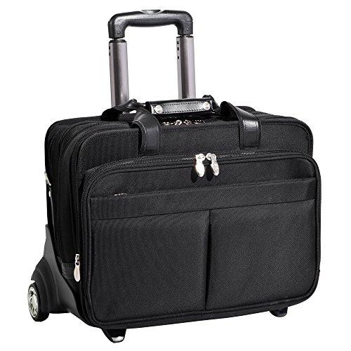 McKleinUSA ROOSEVELT 74555 Black 17 Detachable-Wheeled Laptop Case w/ Removable - Wheeled Overnighter Detachable Laptop