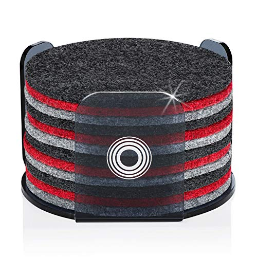 Coasters for Drinks with Modern Acrylic Holder | Absorbent Felt Coaster Set of 12 | Perfect Gifs for Women & Men | Protects Your Table & Desk | Home Design Color MIX (Charcoal/Gray/Red)