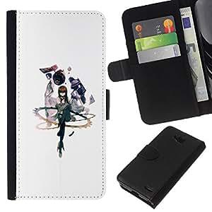 LECELL--Cuero de la tarjeta la carpeta del tirón Smartphone Slots Protección Holder For LG OPTIMUS L90 -- Abstracto --