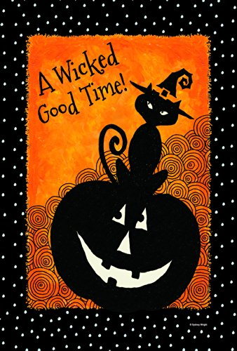Toland Home Garden Let's Get Wicked 12.5 x 18 Inch Decorative Black Cat Halloween Garden Flag