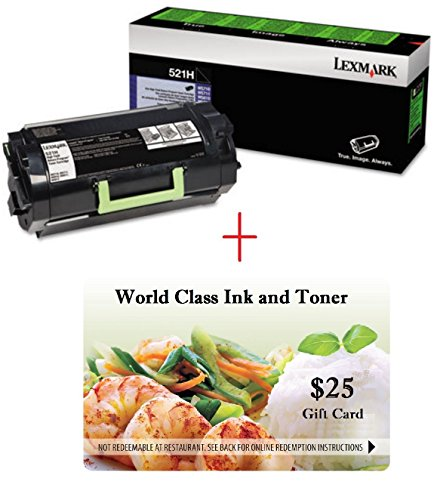 Genuine Original Lexmark Brand 521H High Yield Toner Cartridge (52D1H00). 25,000 Pages. For: MS710dn/MS710n/MS711dn/MS810de/MS810dn/MS810dtn/MS810n/MS811dn/MS811dtn/MS811n/MS812de/MS812dn/MS812dtn. Original Lexmark Cartridge