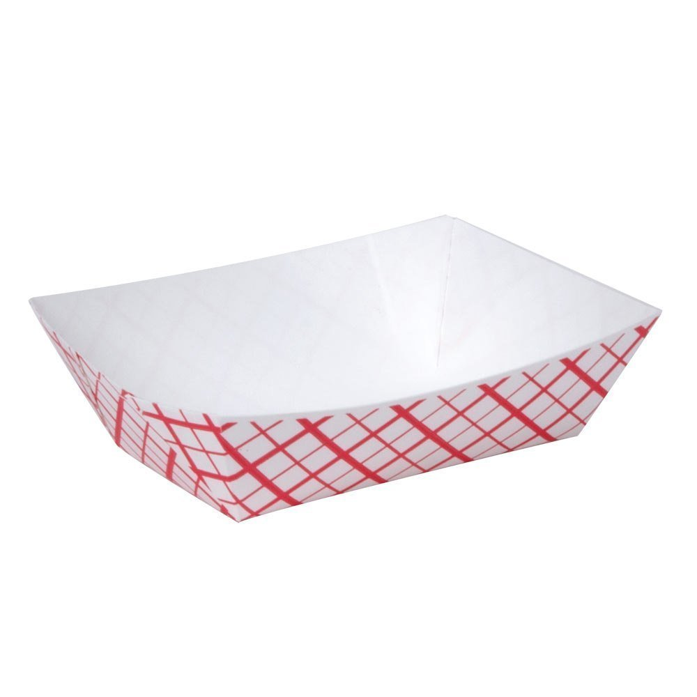 Southern Champion Tray 0421 #250 Southland Red Check Paperboard Food Tray / Boat / Bowl, 2-1/2 lb. Capacity (Case of 500)