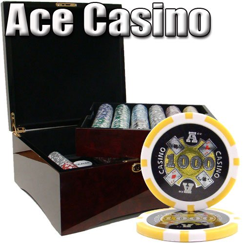 750 Ct Ace Casino 14 Gram Poker Chip Set in Mahogany Wooden Case w/ High Gloss Finish - Free Dealer Button and - Mahogany Poker Set