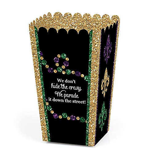 Mardi Gras - Masquerade Party Popcorn Favor Treat Boxes - Set of -