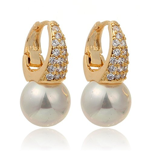 1pair Yellow Gold Plated Cluster Clear Crystal White Pearl Drop Huggie Small Hoop Earrings For Women