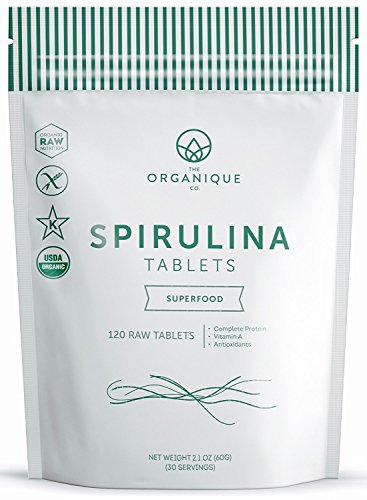 Spirulina Tablets 240ct 500m - Boosts Energy, Supports Immunity - Certified Organic Superfood, Non-Irradiated, Raw, Non-GMO, Vegan, Gluten Free - Nutrient Density Bioavailability - by Organique by The Organique Co.