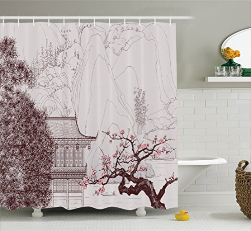 Asian Decor Shower Curtain Set by Ambesonne, Chinese Religion Temple with Sakura Trees and Mountain Forms Pagoda Eastern Artwork Print, Bathroom Accessories, 75 Inches Long, Pink Brown