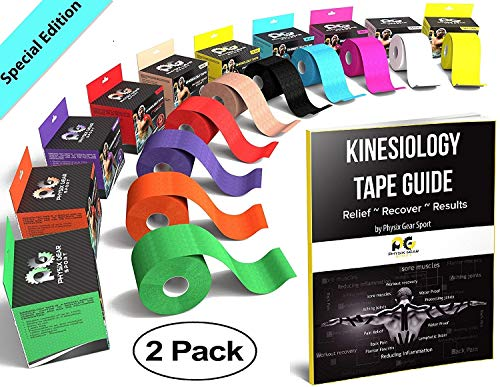 Adhesive Guide - Physix Gear Sport Kinesiology Tape - Free Illustrated E-Guide - 16ft Uncut Roll - Best Pain Relief Adhesive for Muscles, Shin Splints Knee & Shoulder - 24/7 Waterproof Therapeutic Aid (2PK BLU)