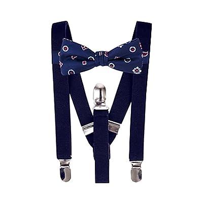 Bloomingdale's Boys Foulard Navy Blue Bow Tie & Solid Suspenders Set