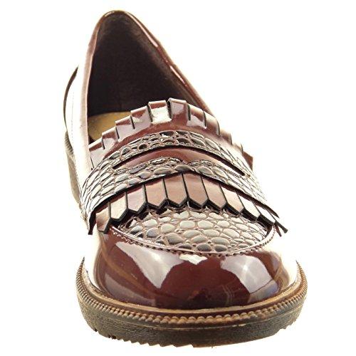 Sopily - Chaussure Mode Mocassin Cheville femmes Peau de serpent frange verni Talon bloc 3 CM - Marron