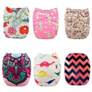 Baby 6pcs Pack Pocket Washable Reusable Cloth Diaper with 12 Inserts (KD # COLOR 8)