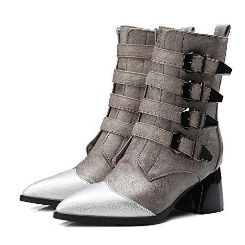 Hunzed Women Shoes Fashion Belt Buckle tip Thick high Heel Side Zipper in The Tube Girl's Boots (Gray, 9.5 M ()