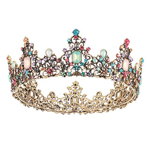 SNOWH Baroque Queen Crowns and Tiaras, Crystal Wedding Crown for Women, Vintage Birthday Tiara, Costume Party Hair Accessories with ()