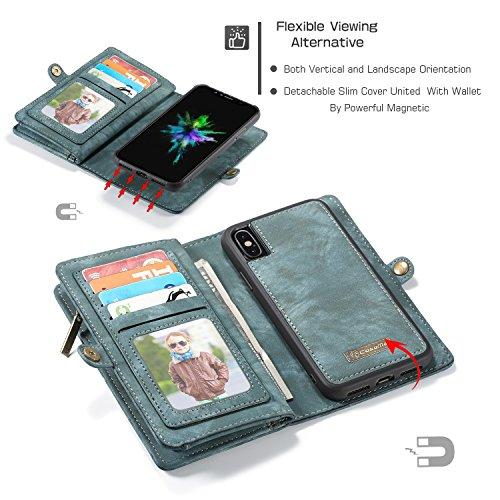 JIALUN-Caja del teléfono o cubierta Funda de cartera para iPhone X con funda extraíble de TPU para PC, de lujo, hecha a mano, cuero TRIFOLD Protege tu teléfono ( Color : Red ) Blue