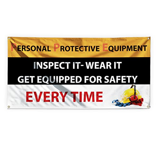 (Personal Protective Equipment Safety Outdoor Advertising Printing Vinyl Banner Sign With Grommets - 3ftx6ft, 6 Grommets)