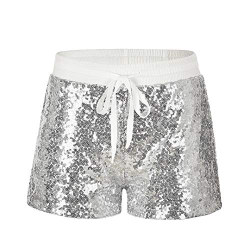 Cindaisy Shimmer Sequin Drawstring Shorts Hot Club Party Casual Shorts for Women Silver]()