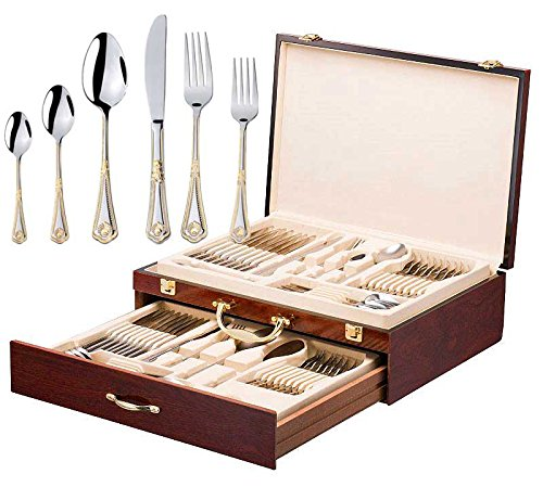 Italian Collection 'Seashell' 75-Pс Premium Flatware Set w/Wooden Storage Case, Dining Cutlery Service for 12, 24K Gold plated 18/10 Stainless Steel Hostess Serving Set in a Chest ()
