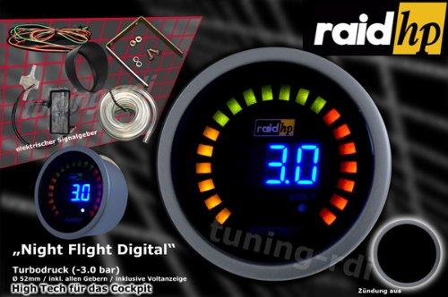 Raid HP 660500 Zusatzinstrument Ladedruckanzeige Serie Night Flight Digital Blue