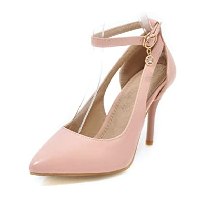 Smilice Damen Dress Spitze Toe Pumps mit Stiletto Absatz Fesselriemen Schuhe u1RNGaLt