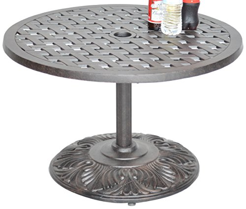 K&B PATIO LD1031PE-30 Nassaupedestal Coffee Table, 30″, Antique Bronze Review