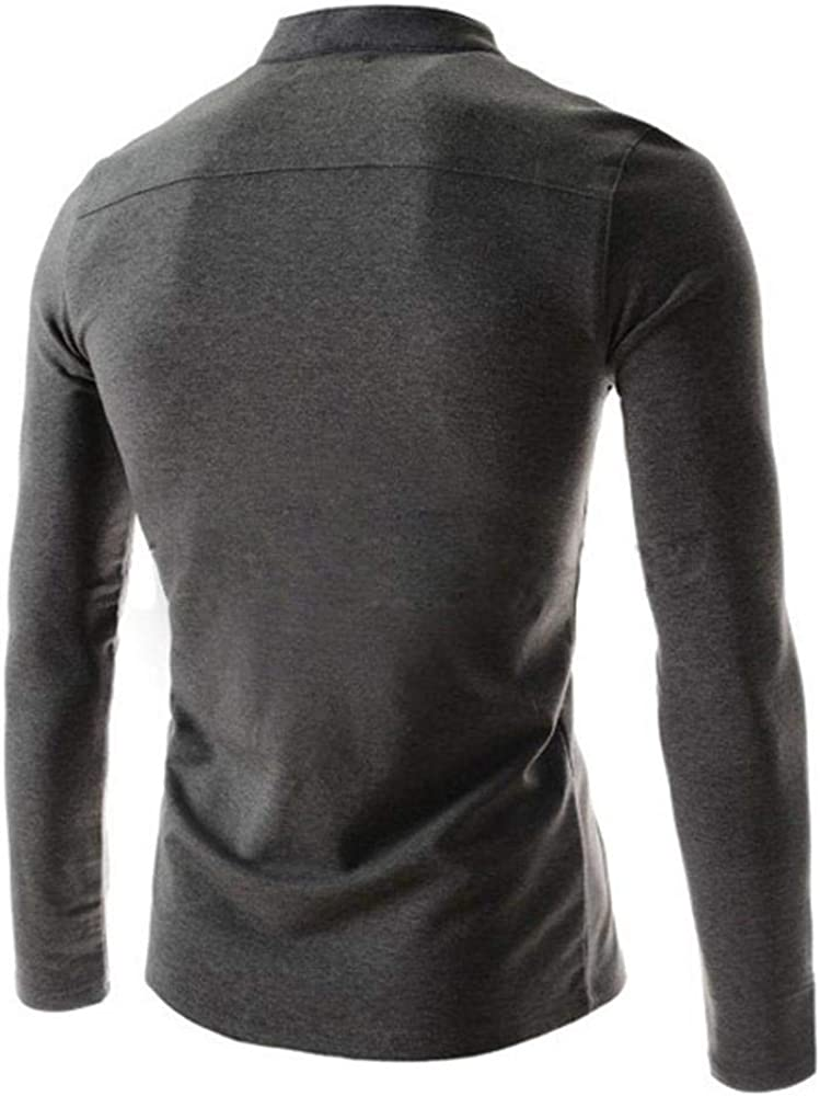 Mens Long Sleeve Cotton T-Shirt Breathable Comfortable Casual Slim-Fit Tops