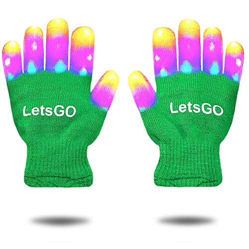 My-My Hot Toys for Christmas 2018, Light Up Rave Gloves for Boys Girls Light Up Gloves Gifts for 3-12 Years Old Kids Christmas Cool Toys for Birthday Halloween Party Stocking Fillers Green MMJSST01