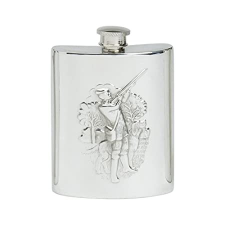 6oz PEWTER HIP FLASK WITH A SHOOTING SCENE