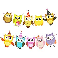 DegGod 2 Pack Handcrafted Paper Owl Banner Garland Hanging Lovely Cartoon Bunting for Home Birthday Party Baby Shower Classroom Decorations Supplies