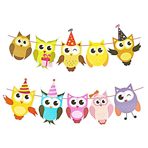DegGod 2 Pack Handcrafted Paper Owl Banner Garland Hanging Lovely Cartoon Bunting for Home Birthday Party Baby Shower Classroom Decorations Supplies ()