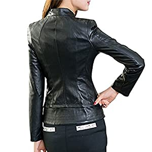 Ms Stunner Women's Slim Short Motorcycle PU Autumn Winter Leather Jacket (US XL, Black)