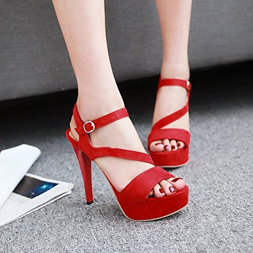 Platform Sandals Red Buckle Chic Women's Mee Stiletto Shoes qxw8XM17