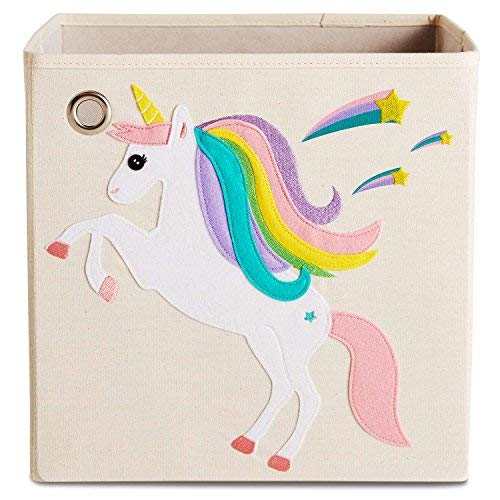 kaikai & ash Storage Bin, Canvas Fabric Toy Box Cube, Kids - Starry Unicorn ()