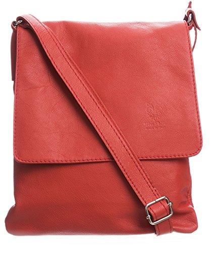 Bag Italian Cross Big Leather Soft Body Real Handbag Shoulder Deep Coral Messenger Womens OOcngv