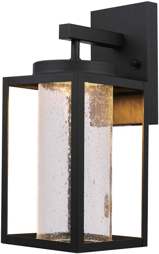 Globe Electric Capulet LED Integrated Outdoor Indoor Wall Sconce, Black, Clear Bubble Glass Center Column, Dimmable, 12W, 1150 Lumens 44359, 13.02""