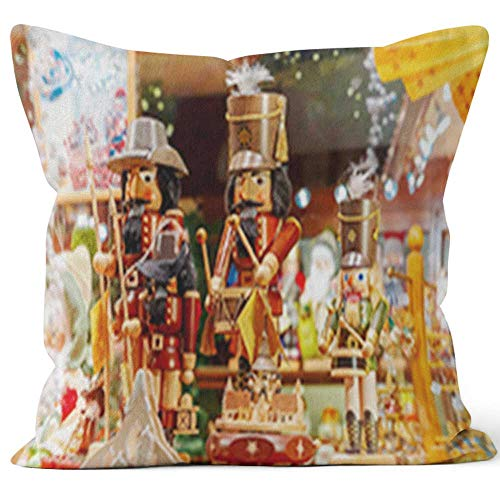 - Nine City Christmas Market in Brugge Home Decorative Throw Pillow Cover,HD Printing Square Pillow case,18
