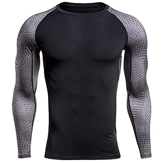 a465254c6a Amazon.com: WEUIE Mens Sportswear Mens Fitness Long Sleeves Rashguard  T-Shirt Bodybuilding Skin Tight-drying Tops: Clothing