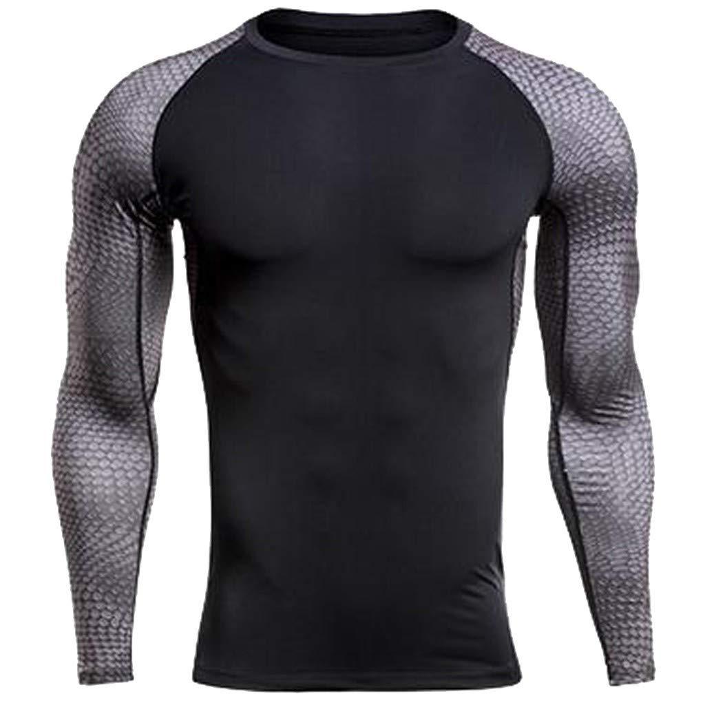 WEUIE Mens Sportswear Mens Fitness Long Sleeves Rashguard T-Shirt Bodybuilding Skin Tight-drying Tops(M, Black)