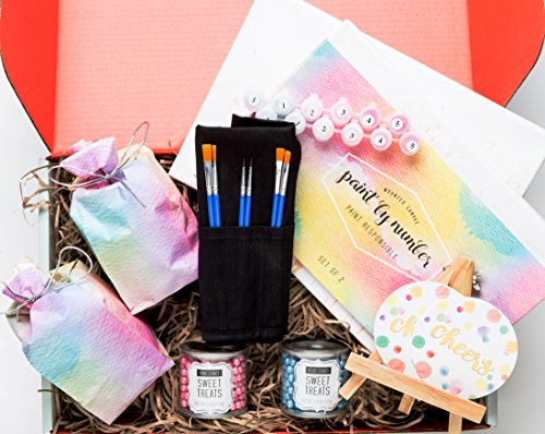 Wine & Paint Night At Home: A Thoughtfully Gift Box Containing Stemless Wine Glasses, Canvases, Paint, Paint Brushes, Candy & Easel (Romantic Gift Baskets)