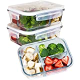 [Premium 3 Pack] 3 Compartment Glass Meal Prep Containers 3 Compartment 6-Piece Set with Snap Locking Lid, BPA-Free, Leakproof, Microwave, Oven, Freezer, Dishwasher Safe (4.5 Cup, 36 Oz, Rectangle)