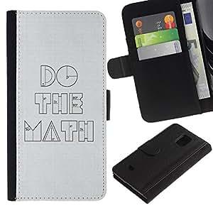 Planetar® Modelo colorido cuero carpeta tirón caso cubierta piel Holster Funda protección Para Samsung Galaxy S5 Mini / SM-G800 (Not For S5!!!) ( Funny Do The Math Minimalist )