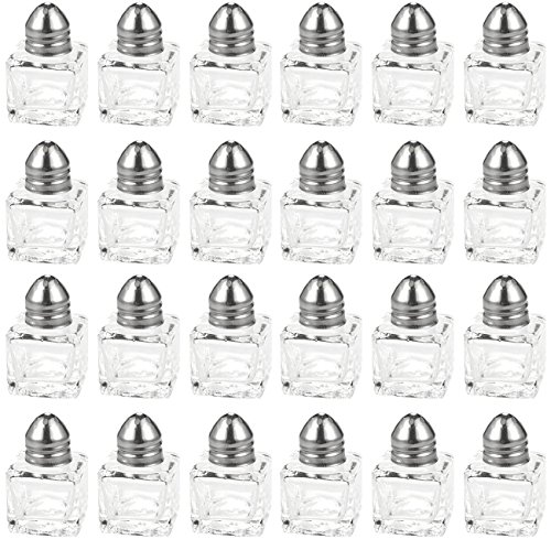 Salt and Pepper Shakers Set - 24-Piece Set of Salt Pepper Shakers, Glass Kitchenware, Mini Salt and Pepper Holders, Transparent, Holds 0.5 Oz