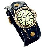 Lancardo Vintage Leather Bracelet Watch With Antique Brass Bronze Tone Bezel(Navy)
