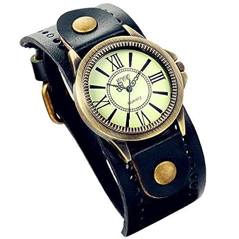 Lancardo Vintage Leather Bracelet Watch With Antique Brass Bronze Tone Bezel(Navy) (Men Antique Watch)