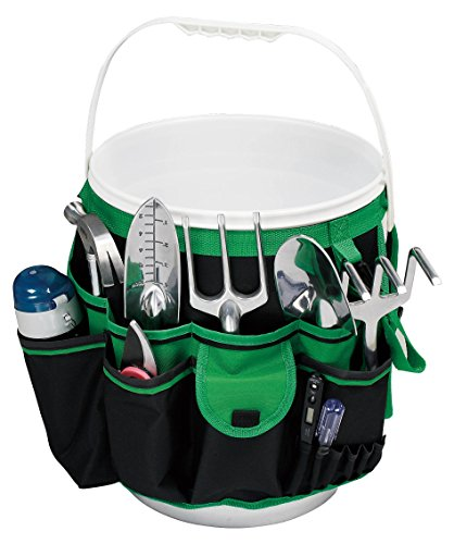 Apollo Tools DT0825 Garden Tool Organizer, Black/Green, 5-Gallon Bucket