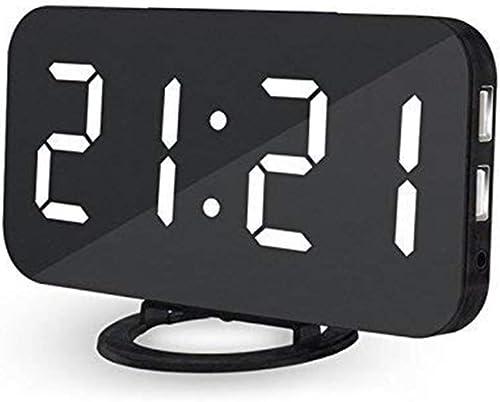Lbsel Electric Led Display Alarm Clock 2 USB Charging Ports Large Number Digital Alarm Clock Mirror Led Table Clock