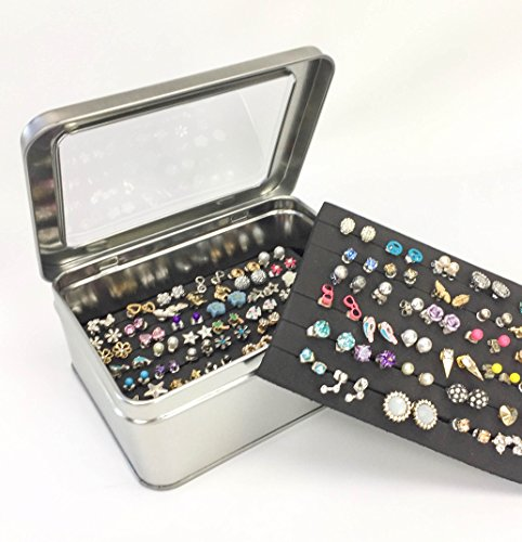 Tin Jewelry Box, Earring Holder, Travel Jewelry Case, Ext...