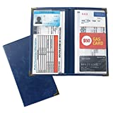 MiYo Car Registration Holder for Car Insurance Card and Vehicle Paperwork, Car Document Holder Organizer for Auto Documents Storage in Glove Box or Visor Flap, Premium PU Blue Leather Wallet Case