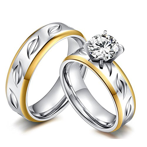 ROWAG High Polished 6mm Mens Titanium Stainless Steel Couple Wedding Bands for Him and Her Womens Cubic Zirconia CZ Promise Engagement Rings (Qz Wedding Rings)