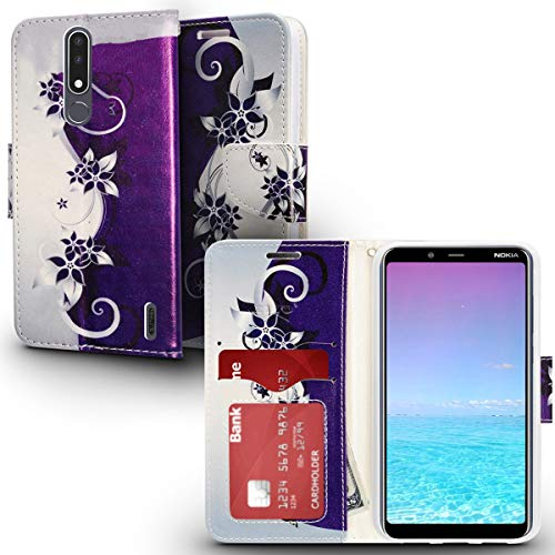 Silver Nokia Pouch - ZV Design Wallet Flap Pouch Compatible with Nokia 3.1 Plus Case with Credit Card and ID Holder Purple Silver Vines