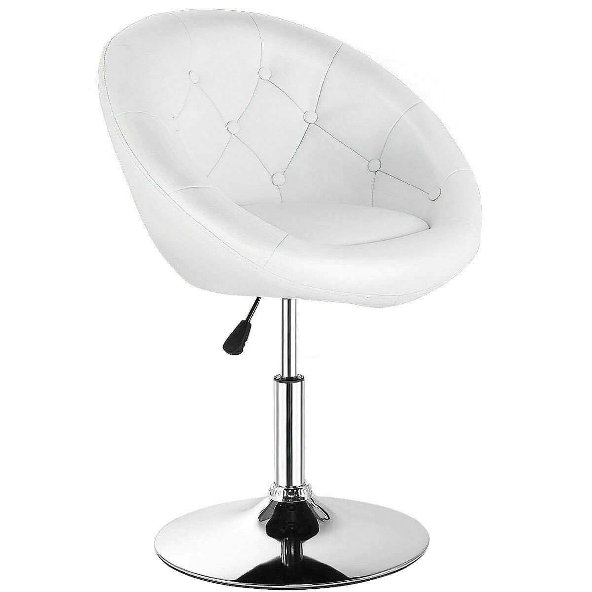 Costway Swivel Accent Chair, Contemporary Tufted Round-Back Tilt Chair with Chrome Frame, Height-Adjustable Modern for Lounge, Pub, Bar, White by COSTWAY